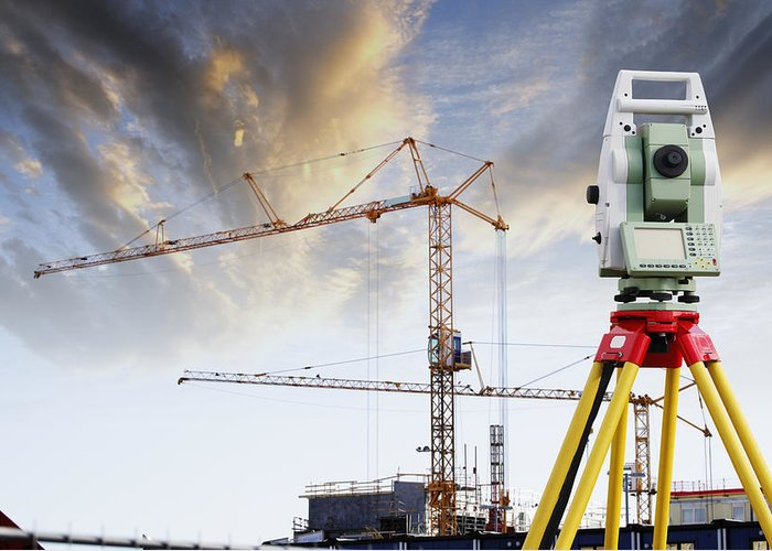 Surveying Greeting Card featuring the photograph Technology And Construction by Christian Lagereek