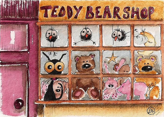 Lucia Stewart Greeting Card featuring the painting Teddy Bear Shop by Lucia Stewart
