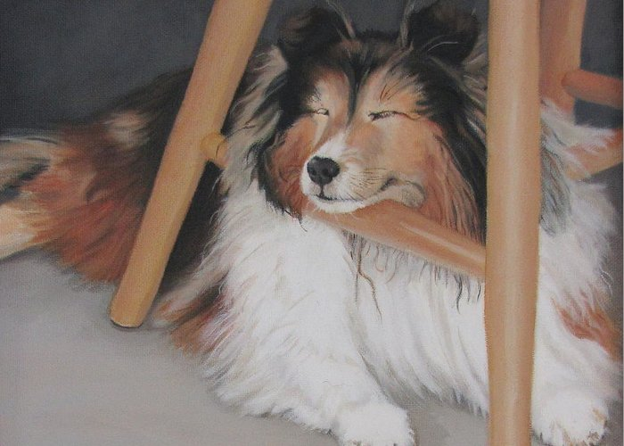 Dog Under Chair Greeting Cards