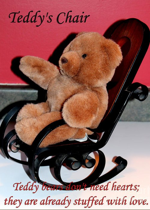Teddy Bear Greeting Card featuring the photograph Teddy's Chair - Toy - Children by Barbara Griffin