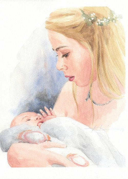 <a Href=http://miketheuer.com Target =_blank>www.miketheuer.com</a> Teen And Baby Sister Watercolor Portrait Greeting Card featuring the drawing Teen And Baby Sister Watercolor Portrait by Mike Theuer