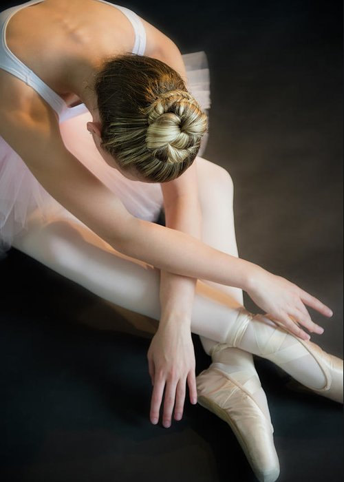 Ballet Dancer Greeting Card featuring the photograph Teenage 16-17 Ballerina Bending Over by Jamie Grill