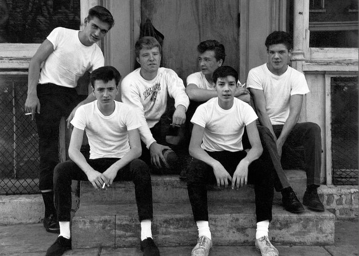 1950's Greeting Card featuring the photograph Teenage Boys On A Step by Underwood Archives
