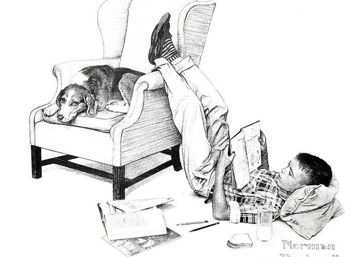 Pencil Greeting Card featuring the photograph Teenager Studying by Susan Leggett