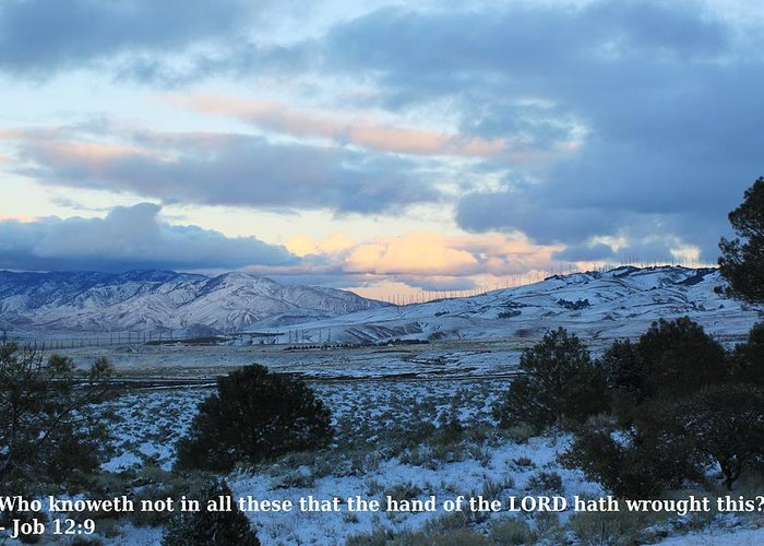 Bible Quote Greeting Card featuring the photograph Tehachapi Valley With Job Quote by Jeff Kemper