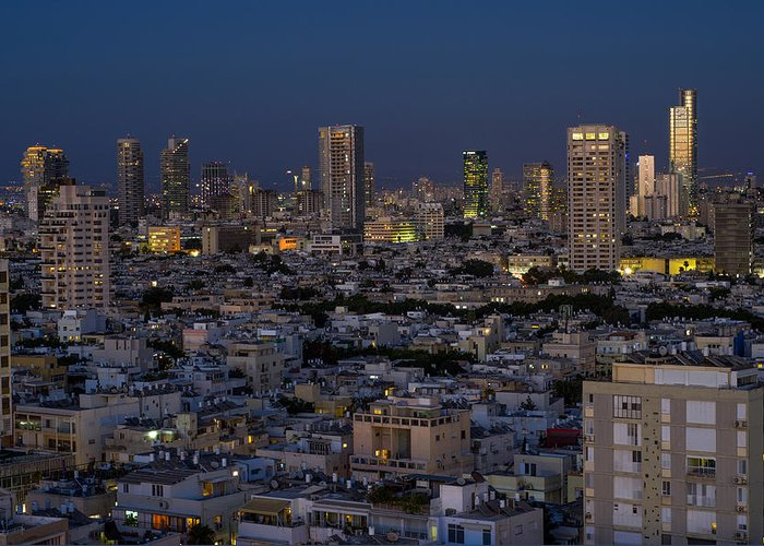 Kaballah Greeting Card featuring the photograph Tel Aviv At The Twilight Magic Hour by Ron Shoshani