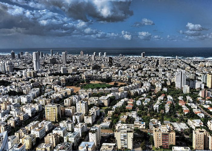 Israel Greeting Card featuring the photograph Tel Aviv Center by Ron Shoshani