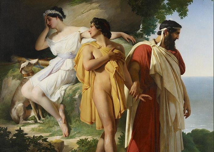 Telemachus; Eucharis; The Adventures Of Telemachus; Odyssey; Literature; Scene; Characters; Greek; Myth; Mythology; Mythological; Legend; Hero; Journey; Love; Lovers; Male; Female; Nymph; Mentor; Young; Innocence; Grief; Tragic; Parting; Parted; Departing; Farewell; Goodbye; Leaving; Leading; Looking Back; Heartbroken; Heartbreak; Romance; Romantic; Classical; Connection; Sorrow; Sad; Sadness; Dog; Pet; Domestic Animal; Landscape; Nude; Drapery; Gesture; Head In Hand;emotion; Emotions; Emotional Greeting Card featuring the painting Telemachus And Eucharis by Raymond Quinsac Monvoisin