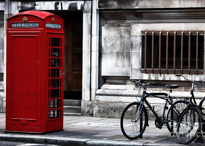 Telephone In London Greeting Card featuring the photograph Telephone In London by John Rizzuto