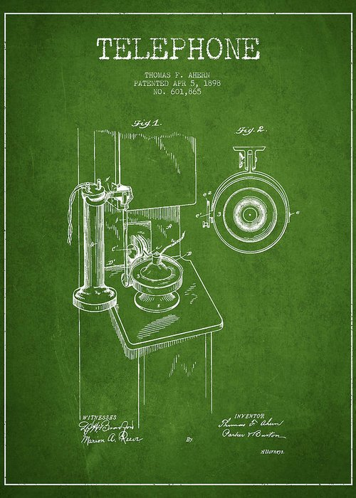 Telephone Greeting Card featuring the digital art Telephone Patent Drawing From 1898 - Green by Aged Pixel