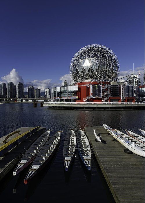 Architecture Greeting Card featuring the photograph Telus World Boats by Frank Pali