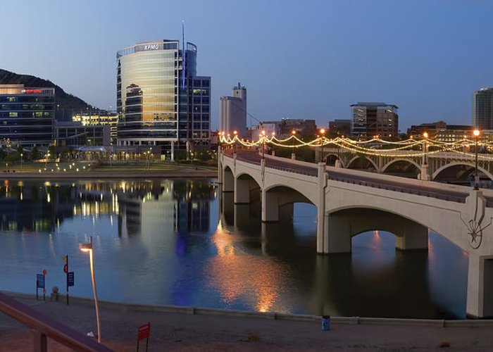 Tempe Greeting Card featuring the photograph Tempe Town Lake Pano by Dave Dilli