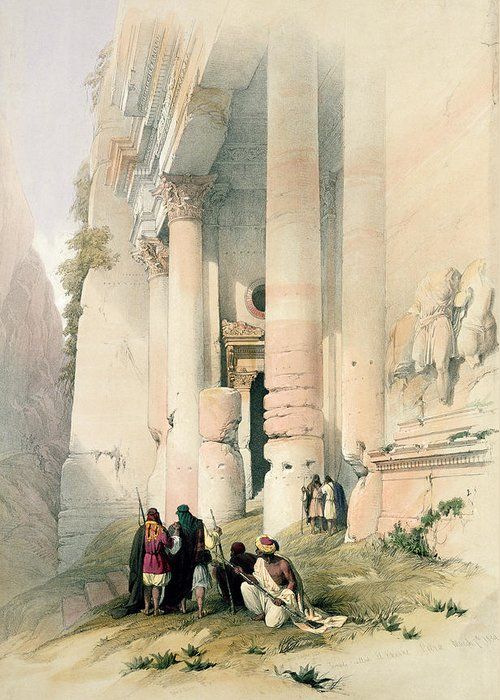 Treasury Greeting Card featuring the painting Temple Called El Khasne by David Roberts