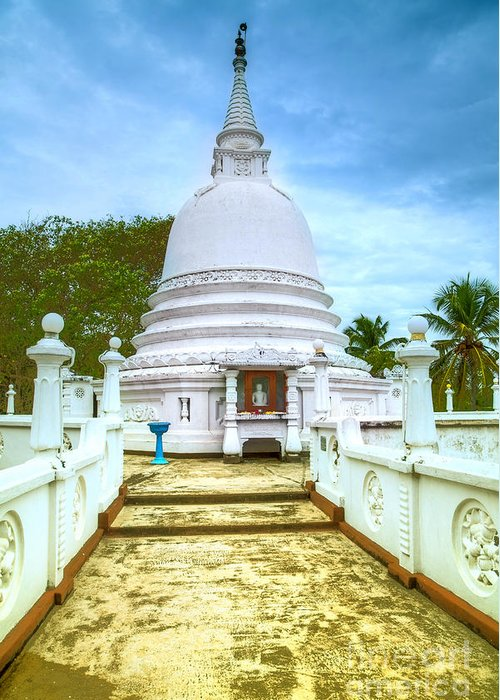 Tempel Greeting Card featuring the photograph temple complex at the tropical island Sri Lanka by Regina Koch