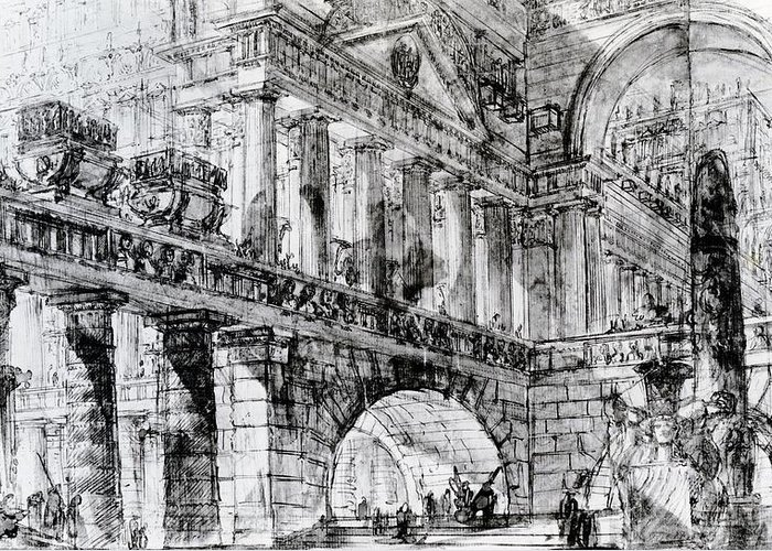 Interior; View; Imagined; Architecture; Drawing; Sketch; Obelisk; Imaginary; Invented; Design; Stone Monument; Monolith; Columns; Arches; Archways; Archway; Church; Place Of Worship Greeting Card featuring the drawing Temple Courtyard by Giovanni Battista Piranesi