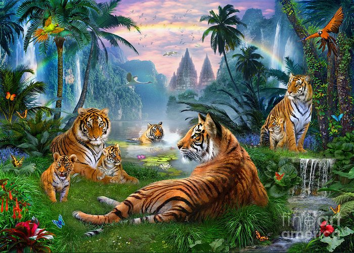 Animals Greeting Card featuring the digital art Temple Lake Tigers by Jan Patrik Krasny