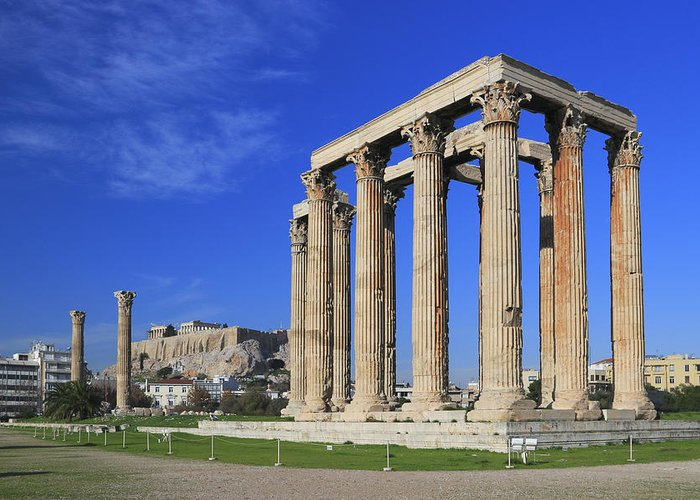 Acropolis Greeting Card featuring the photograph Temple Of Olympian Zeus Athens Greece by Ivan Pendjakov