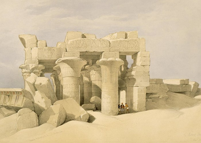 Ruins Greeting Card featuring the painting Temple Of Sobek And Haroeris At Kom Ombo by David Roberts