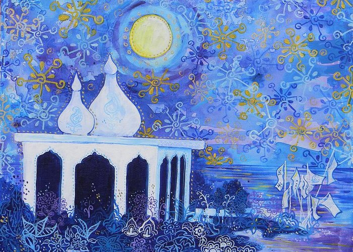 Temple Greeting Card featuring the painting Temple On The Sea 2 by Samantha Rochard