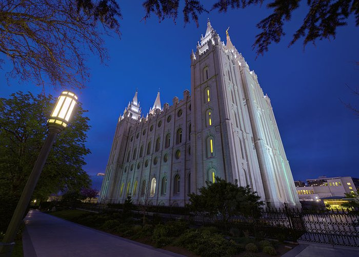 Mormon Greeting Card featuring the photograph Temple Perspective by Chad Dutson