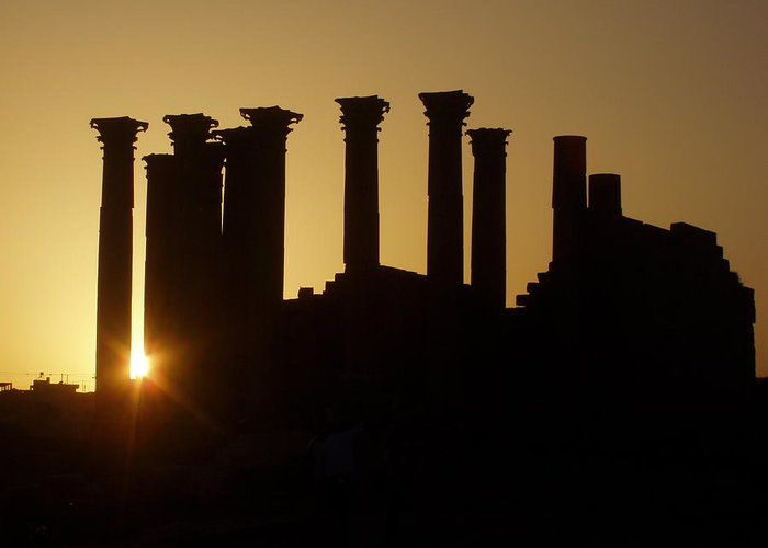 Jerash Greeting Card featuring the relief Temple Sunset by James Tweedie
