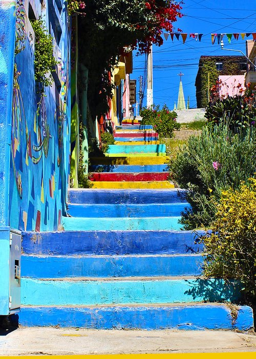 Chile Greeting Card featuring the photograph Templeman Street Valparaiso Chile by Kurt Van Wagner