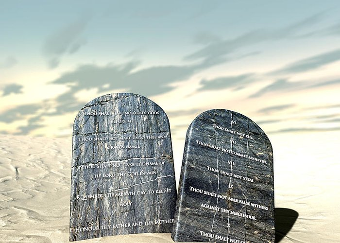 Ten Commandments Greeting Card featuring the digital art Ten Commandments Standing In The Desert by Allan Swart