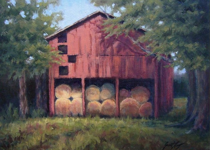 Barn Greeting Card featuring the painting Tennessee Barn With Hay Bales by Janet King