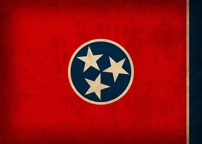 Tennessee Greeting Card featuring the mixed media Tennessee State Flag Art On Worn Canvas by Design Turnpike