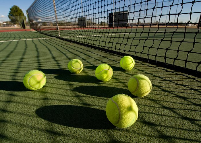 Tennis Greeting Card featuring the photograph Tennis Balls And Court by Joe Belanger