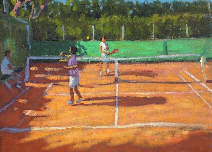 Tennis Greeting Card featuring the painting Tennis Practice by Andrew Macara