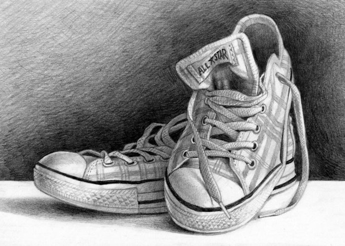 Still-life Greeting Card featuring the drawing Tennis Shoes by Brian Winget