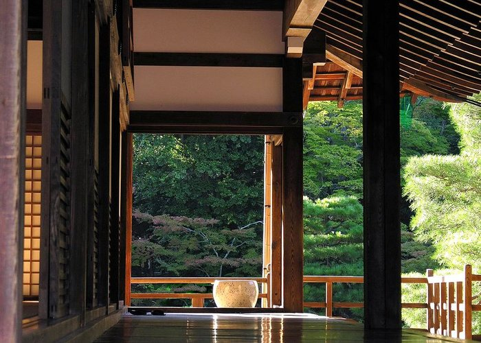 Kyoto Temple Greeting Card featuring the photograph Tenryui-ji - Temple - Kyoto by Jacqueline M Lewis