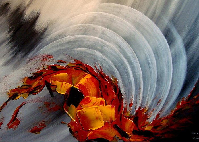 Abstract Greeting Card featuring the painting Tequila Sunrise by Thierry Vobmann