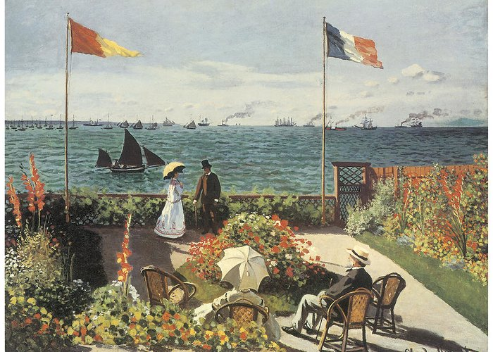 Terrace At Sainte-andresse Greeting Card featuring the painting Terrace At Sainte-andresse by Claude Monet