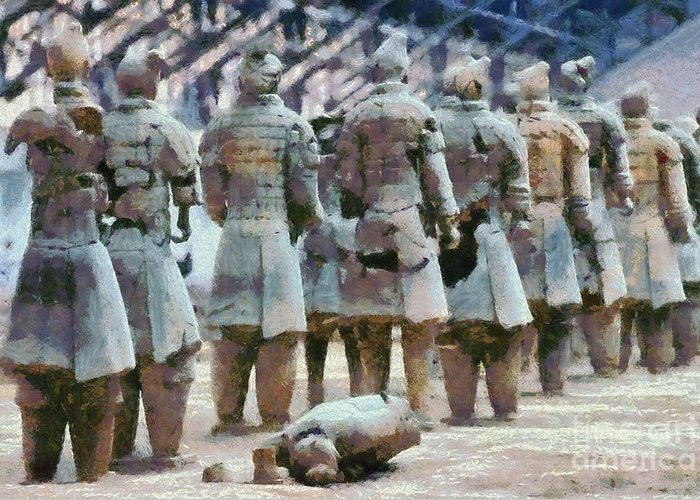 Paint; Painting; Paintings; Warrior; Warriors; Soldiers; Army; Terracotta; Ceramic; Museum; Xian; China; Asia; City; Chinese; East; Eastern; Holidays; Vacation; Travel; Trip; Voyage; Journey; Tourism; Touristic Greeting Card featuring the painting Terracotta Warriors by George Atsametakis