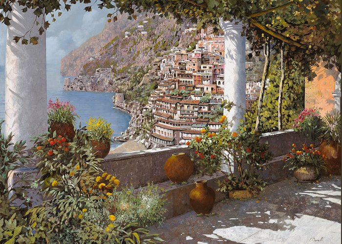 Positano Greeting Card featuring the painting terrazza a Positano by Guido Borelli