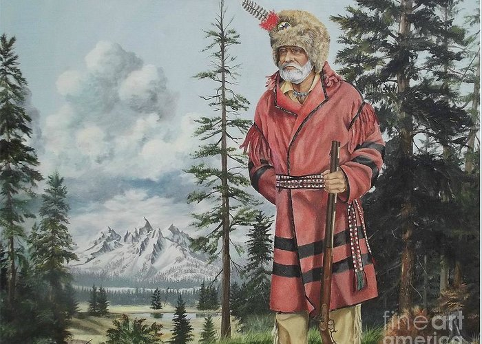 Landscape Greeting Card featuring the painting Terry The Mountain Man by Wanda Dansereau