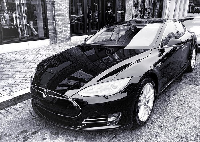 Tesla Greeting Card featuring the photograph Tesla Model S by Olivier Le Queinec