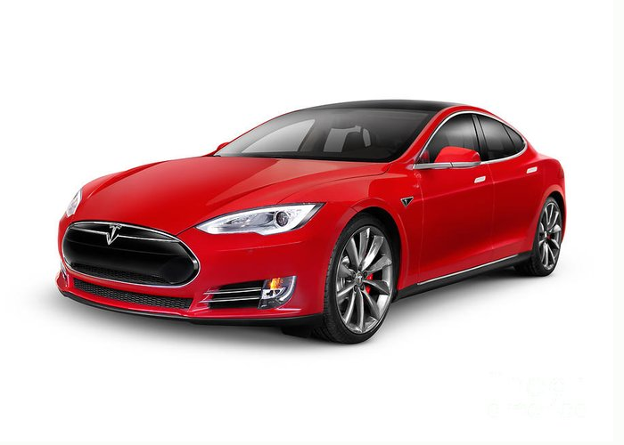 Tesla Greeting Card featuring the photograph Tesla Model S Red Luxury Electric Car by Maxim Images Prints