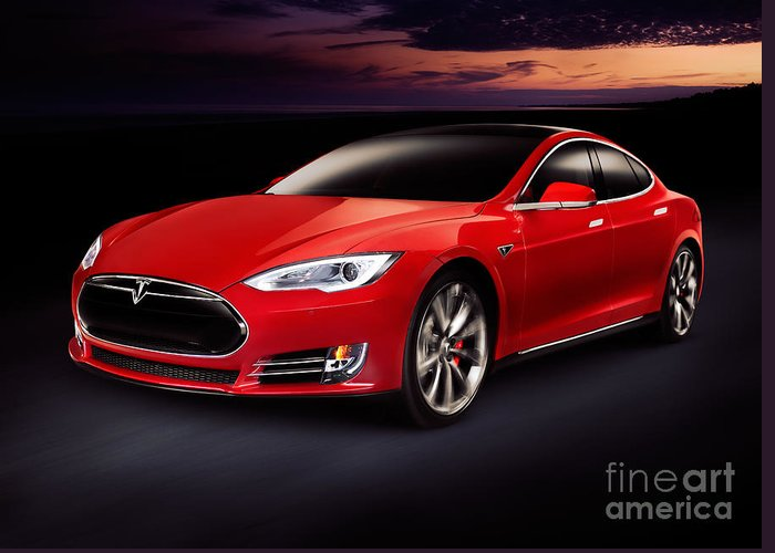 Tesla Greeting Card featuring the photograph Tesla Model S Red Luxury Electric Car Outdoors by Maxim Images Prints