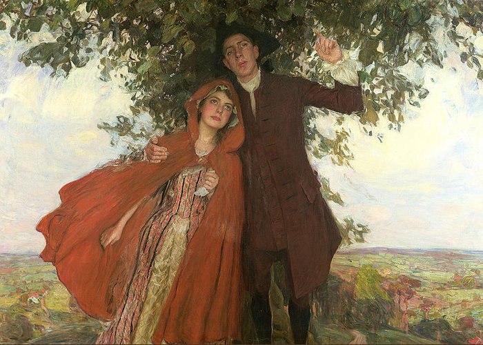 D'urberville; Heroine; Thomas Hardy; 1840-1928; Lovers; Fleeing; Red Cape; Landscape; Shelter; Tree; Love; Mixed Emotions Greeting Card featuring the painting Tess Of The D'urbervilles Or The Elopement by William Hatherell
