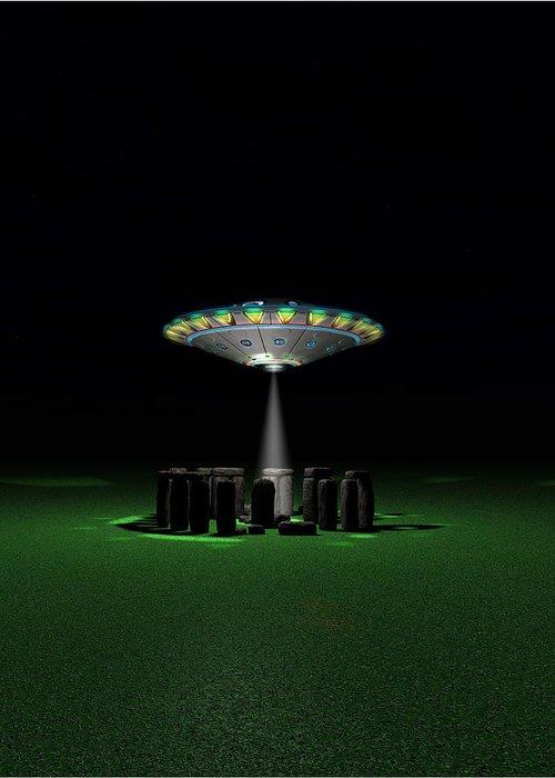Ufo Greeting Card featuring the digital art Test Flight_sc1 by Manuel Pineda