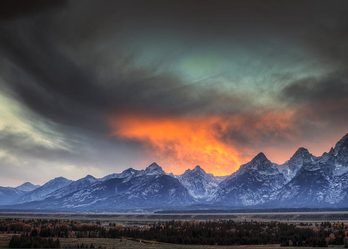 Autumn Greeting Card featuring the photograph Teton Explosion by Mark Kiver