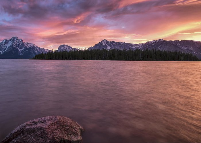 Horizontal Greeting Card featuring the photograph Teton Firesky by Jon Glaser