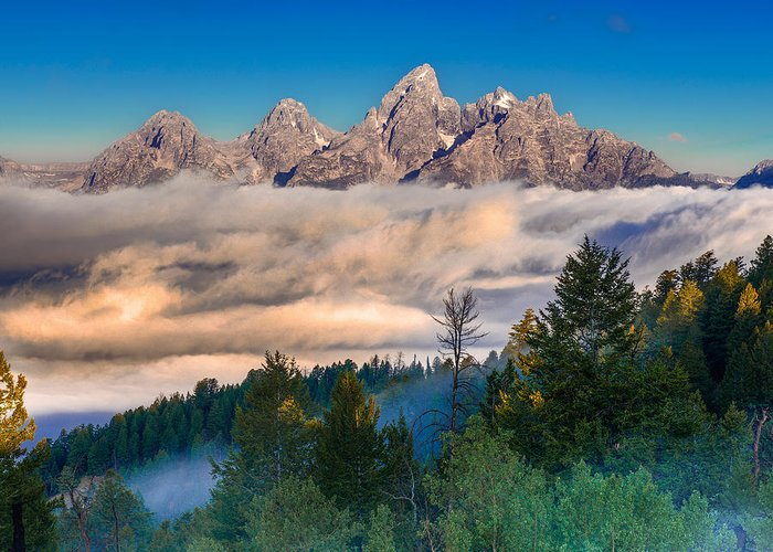 Teton Greeting Card featuring the photograph Tetons Above The Clouds by Jerry Patterson