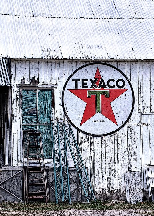 Texaco Canvas Print Greeting Card featuring the photograph Texaco Times Past by Lucy VanSwearingen