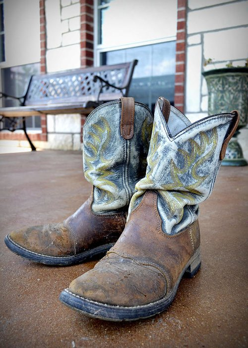 Texas Greeting Card featuring the photograph Texan Cowboy Boots by Richelle Munzon