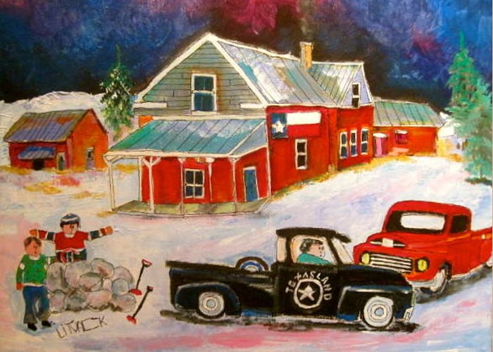 Texas Flag Greeting Card featuring the painting Texas Farm Winter by Michael Litvack