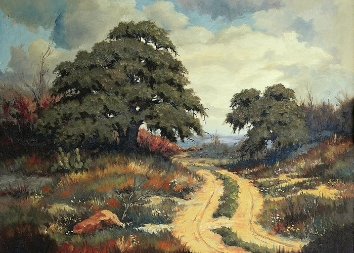 Bob Hallmark Greeting Card featuring the painting Texas Hill Country by Bob Hallmark